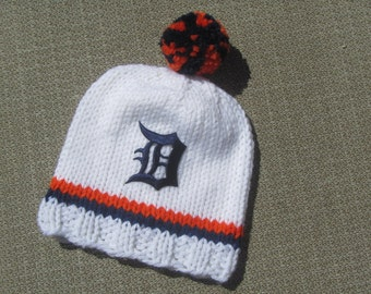 DETROIT TIGERS Hand Knit Baby Hat - Detroit Tigers Baby Hat - Michigan Hand Knitted Baby Hat