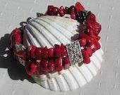 "Natural Red Coral Gemstone Bracelet ""Symphony in Red"", Coral Bracelet, Red Bracelet, Silver Bracelet, Valentines, Silver Heart, Spring"