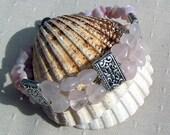 "Gemstone Crystal Heart Bracelet, Rose Quartz & Pink Opal ""Fairy Wishes"", pink bracelet, rose quartz, valentines, quartz heart, opal bracelet"
