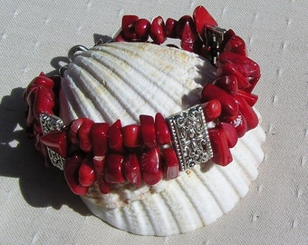 "Natural Red Coral Gemstone Bracelet ""Symphony in Red"", Coral Bracelet, Red Bracelet, Silver Bracelet, Shell Bracelet, Winter, Beach Bracelet"