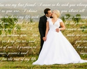 "Personalized Wedding Canvas Vow Art Custom Canvas Design 24""x36"""