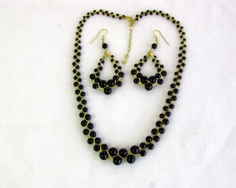Vintage Black Bead and Gold Tone Woven Chain Necklace and Drop Earring Set