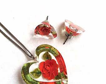 Vintage Lucite necklace and earrings red roses encased and sterling silver chain and earrings posts