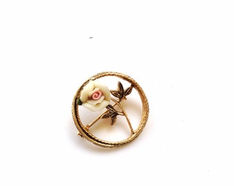 ceramic rose brooch circle flower pin brooch gold and pink rose flower