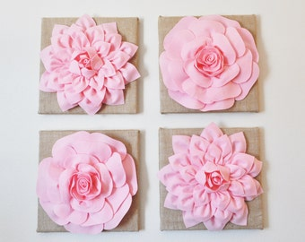 "Baby Nursery Wall Decor -SET OF FOUR Light Pink Dahlias and Roses Burlap 12 x12"" Canvases Wall Art-"