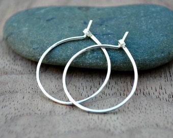 Small thin silver hoop earrings