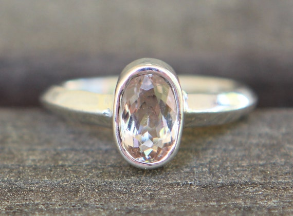 Hammer Forged 1.10ct Morganite Pink Emerald And  Argentium Sterling Silver Ring SZ 6.5