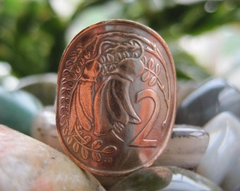 New Zealand 2 Two Cent Kowhai Flower Bronze Coin Wraparound Ring with Copper Band