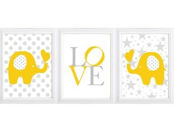 Baby Elephant Nursery Print- wall art,  baby ,crib, kidsroom wall art  Baby Girl or Boy Nursery-set of 3