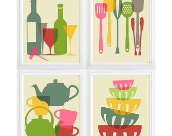 Set of 4 modern kitchen wall art- with kitchen tools- Personalize Colors