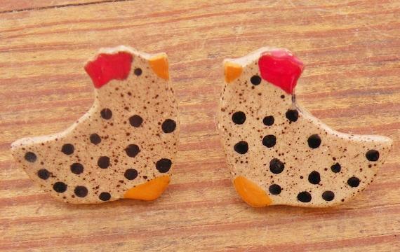 Chicken Art Vintage Folk Art Hen Earrings