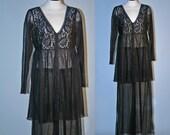 Victoria's Secret Vintage Sheer Black Lace 2 Piece Pajama Set Mint NWT Size P/S
