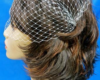 Birdcage Bridal Veil, Bandeau  Wedding Veil, Blusher Bandeau Veil