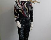 70s Black Swirl detail Disco Sequin Jumpsuit (M)