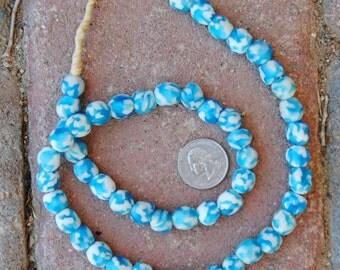 Ghana Glass Beads: Marble Lite Blue 11x11mm