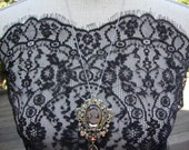 "14"" Wide Black French Lace Victorian Style Lace Bridal Lace Antique Style Lace Black Lace Trim Victorian Costume Made in France JM21"
