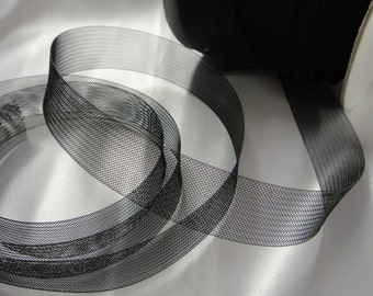 """5 yards 1"""" width ( 25mm) Black Nylon Horsehair Braid  for altered your fashion designs"""