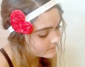 Red Rosy Heart Paper Mache Headband