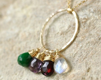 Gold mother's necklace, family birthstone necklace, family of four, grandmother's necklace, gift for mother in law - Julie