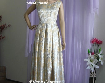 Delilah - Vintage Style Bridal Gown. Full Length GORGEOUS Brocade Wedding Dress.