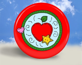 Apple for Teacher Magnet, Button or Pocket Mirror - 2.25 Inches