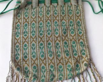 SALE Antique reticule/vintage beaded bag/microbeaded handbag/drawstring bag/geometric beading/arts and crafts pattern/art and crafts bag