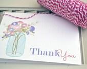 Mason Jar Personalized Stationery / Personalized Stationary / Personalized Note Cards / Stationery Set - Mason Jar Flower Notes