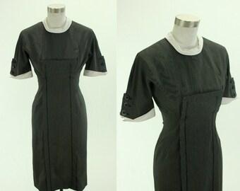 1950's Minx Modes Wiggle Dress S M Black White Stripes