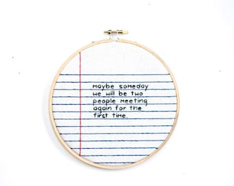 notebook paper loose leaf wall hanging needlework cross stitch handwriting hoop gift // mother's day father's spring