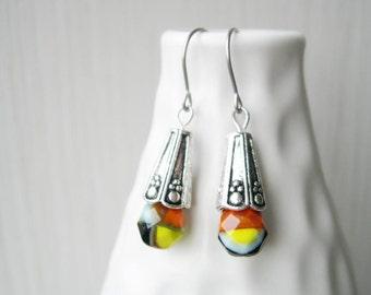 Multicolor Dangle Earrings - Picasso Czech Glass Jewelry, Silver, Titanium Earwires, Orange, Black, Blue, Yellow, Rust