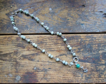 Peaceful Lotus Aqua Blue Amazonite Gemstone Mala Necklace Wire wrapped in Sterling Silver