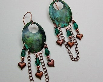 VERDIGRIS and Copper Metal Dangle Chandelier Gypsy Cowgirl Earrings -  VeRDiGRiS & CoPPeR HearTs