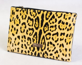 Yellow leopard leather clutch purse