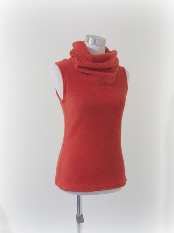 SIZE L Oversized cowl neck sleeveless polar fleece vest burnt orange   Wanderlust Clothing Australia   perfect for travel