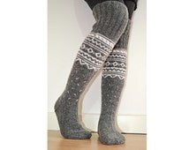 Long Above the Knee Hand Knit Grey White Wool Winter Socks Scandinavian Nordic