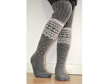 Long Above the Knee Hand Knit Grey White Wool Winter Socks Scandinavian Nordic