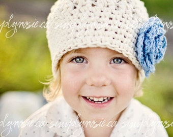Ivory Cotton Baby Girl Beanie - Crochet Baby Hat with Flower, Baby Beanie Hat, Baby Girl Hat, 0 to 12 Months Hat