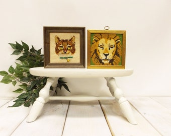 Vintage Pair of Felines -- Handstitched Cat Portraits-- One Big Cat, One Little Cat-- Lion and Little Buddy