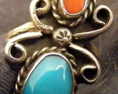 Southwest coral & turquoise ring