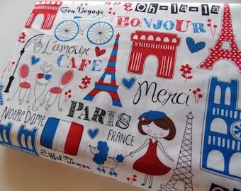 Timeless Treasure Paris red white blue fabric