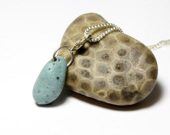 Blue Seaglass Necklace : Authentic Blue Slag Glass Focal Turquoise Beach Stone Sea Glass Bluestone Lelandite Raw Materials Sterling Silver