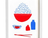 Rice Print - Simple Kitchen Art - Minimalist Illustration - high quality fine art print