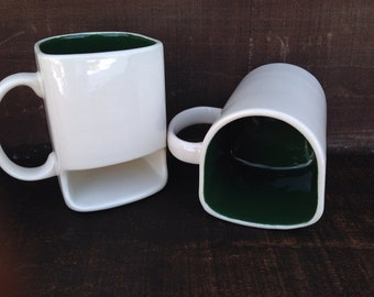 White with Hunter Green - Ceramic Cookies and Milk Dunk Mug with Cookie Shelf
