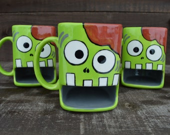 Nom Nom Nom BRAINS - Whimsical Zombie Ceramic Cookies and Milk Dunk Mug - Lime Green