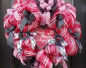 Valentine Heart Wreath, Valentines Day Wreath, Door Decor, Big Valentine Wreath, Valentines Decor, Deco Mesh Heart Wreath