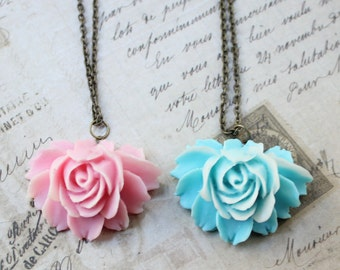 Pink or Blue 3D Resin Rose Pendant Necklace