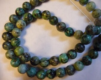 "African ""Turquoise""  Bead, (dyed), 8mm Round, C grade, Gemstone (Pkg Of 12 )"