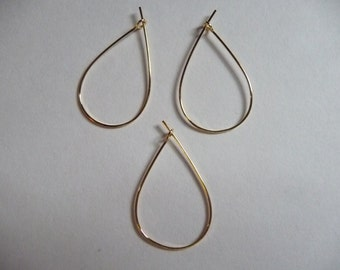 Earwire, Gold-Plated, Brass, 27x17mm, Teardrop, Hoop, Pkg Of 6 Pairs