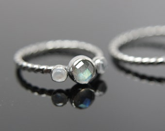 Triple gemstone stacking band. Three gemstones on a textured ring in sterling silver.