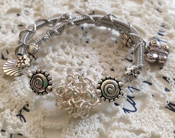 Coiled Silver Bead Memory Wire Bracelet with Charms